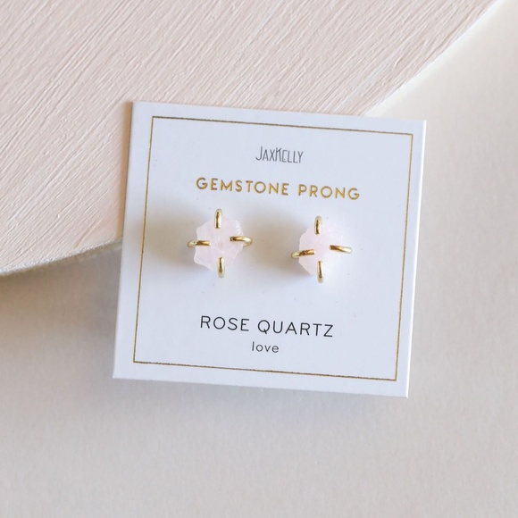 Rose Quartz Gemstone Prong Earrings
